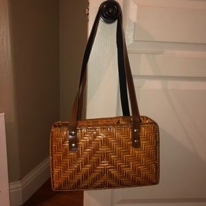 Handbags - Basket Woven Brown Drawstring Purse